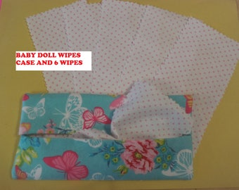 Baby doll diaper wipes case and 6 flannel wipes, easy for little hands to open for all dolls baby alive bitty baby cabbage patch & more