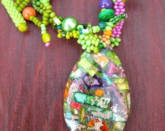Colorful necklace, Green beaded necklace, Necklace with sea sediment jasper pendant, Gift for women, Boho necklace, Freeform necklace