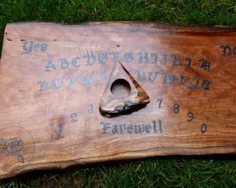 Ouija Board Gothic Black Rose Pagan Wiccan Dark Magick Victorian Wood Slab Wooden Spirit Talking Game With Pointer Planchette Haunted Ghost