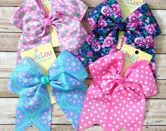 NEW! Monogrammed Bows- preppy bows, large bows, hairbows, personalized, seersucker bow, Easter bow, chambray bow, floral bow