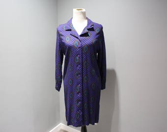 Vintage Womens Shift Dress Size 6 Paisley Deep Purple Long Sleeve