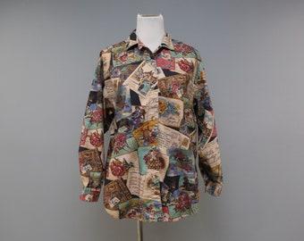 Vintage Womens Button Front Shirt Top Size Medium M Kittens On Basket