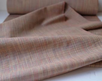 Vintage Wool Kimono Fabric unused bolt by the yard Beige and Multi Color Plaid 100% wool OFF the bolt Japanese kimono fabric