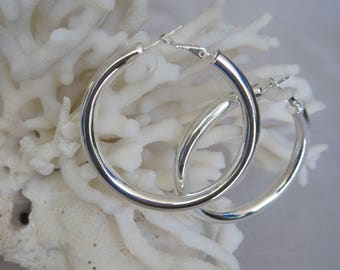 """Classic Silver Bold & Thick 1-7/8"""" Diameter Hoops"""