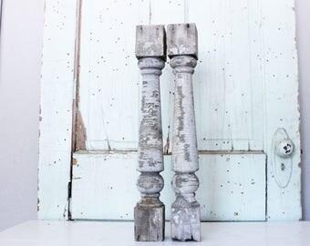 Vintage Wood Gray Baluster Set // Primitive Display