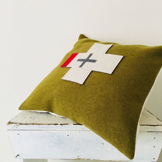 "Moss Green Wool Pillow Cover 18""x18"" Square Cushion Wool Plus Sign Vintage Military Green Wool Oregon Wool Gray Swiss Cross Cabin Camp Decor"