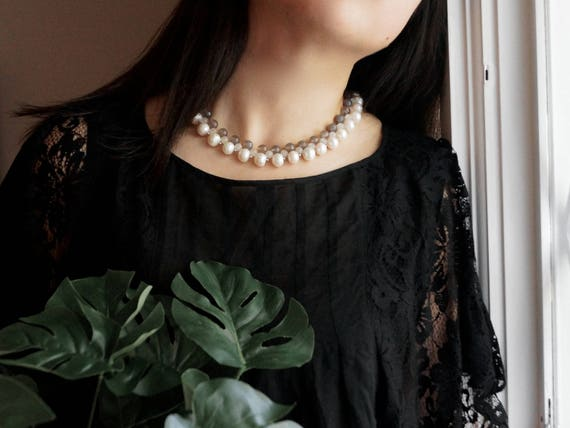 Freshwater pearls and gem stones beaded necklace - ivory and gray
