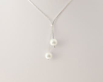 Pearl Necklace, Lariat Pearl Necklace, Bridesmaid Necklace, Girl Gift, UK Seller, Bridesmaid Gifts, Bridal Pearl Necklace, Lariat Necklace