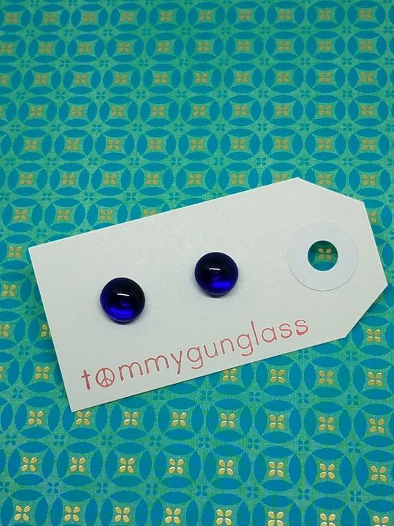 Cobalt Blue Glass Stud Earrings