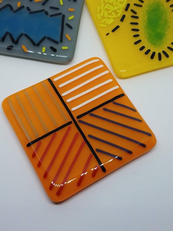 Funky Orange Glass Trivet or Spoonrest