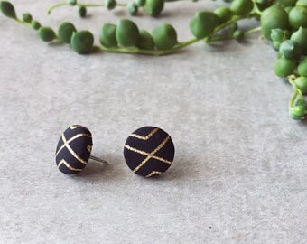 Gatsby black and gold stud earrings - black and metallic gold - Hypoallergenic posts - handmade - EtsyAU