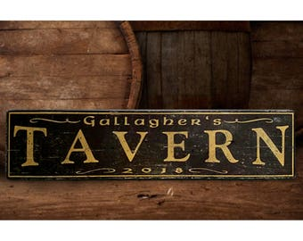 Personalized Tavern Wood Sign - Hand Crafted Wood Decor