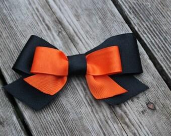 Halloween Hair Clip - Black and Orange Halloween Hair Clip