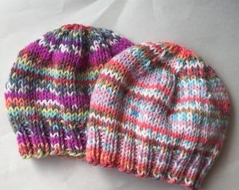 Newborn Baby Girl Beanie, Fairisle Newborn Baby Beanie, Photo Prop, Infant Hat, Machine Washable, Seamless hat