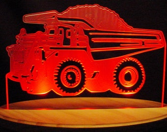 "Dump Truck Acrylic Edge Lit Lighted 13"" Led Sign Made in the USA"