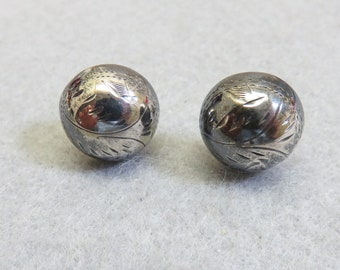 Sterling Pierced Earrings, Round Chased Metal, Post Style, Thai Silver