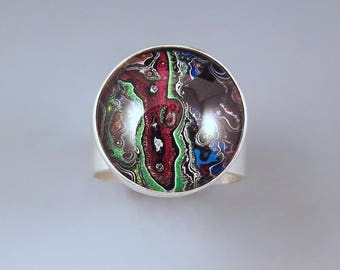 Fordite- Detroit Agate- Unique Metallic Shimmering Colors- Michigan Made- Hammered Sterling Silver- Fordite Ring