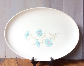 Vintage Taylor Smith Taylor Bouttinere  Oval Serving Platter / Ever Yours Blue Floral Platter / Retro Bouttinere Platter