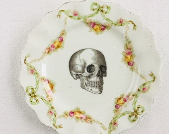 Skull Cake Tea Plate Green Garland Yellow Pink Flowers Pattern White Vintage China Made in England Wedding Anniversary Gift Wall Art Collage