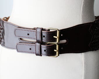 VINTAGE Genuine Leather Brown Braided Wide Double Buckle Belt Size L