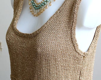 Gold Metallic Loose Knit Crop Top