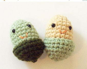 Christmas In July Sale Acorn Dolls - Set of 2 - Sage Green and Beige