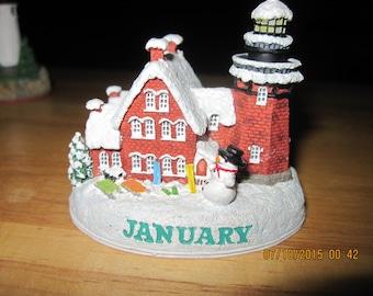 Vintage Miniature Harbour Lights Month Lighthouses...Block Island Southwest Lighthouse...Block Island,RI...JANUARY