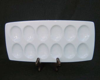 White Ceramic BIA Cordon Bleu Egg Tray from Crate & Barrel