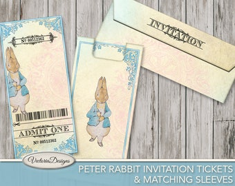 Peter Rabbit Invitation Tickets Sleeve Printable Party Tickets Beatrix Potter digital download instant download digital sheet - VDTIBP1738