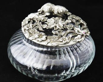 Vintage RAWCLIFFE PEWTER CAT Candy Bowl / Potpourri Glass Bowl / 1988 / Housewarming - Birthday Gift Gift