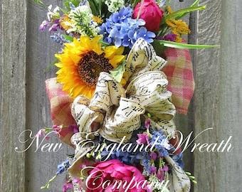 ON SALE Summer Floral Swag, Summer Wreath, Country French Swag, Sunflower Wreath, Victorian Garden Swag, Elegant Floral Swag, Designer Flora