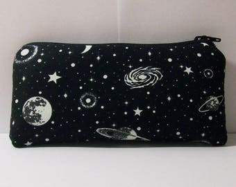 "GLOW in the DARK, Pipe Pouch, Space Pipe Case, Glass Pipe Bag, Planets, Padded Pipe Pouch, Stoner, 420, Weed, Smoke Accessory - 5.5"" SMALL"