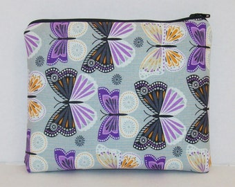 "Pipe Pouch, Purple Butterfly, Pipe Case, Glass Pipe Bag, Pipe Cozy, Zipper Bag, Padded Pipe Pouch, 420, Stoner Gift, 7.5"" x 6"" - X LARGE"