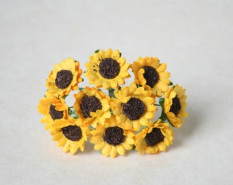 20 mm /  10 yellow sun flowers   mulberry paper  flowers  For Crafts ,Scrapbooking ,Cardmaking , Embellishment
