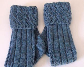 Lovat blue hand knitted men's kilt hose / socks with patterned top. UK 9  US 11  EU 43.5