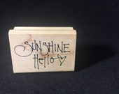 Sunshine Hello Rubber Stamp Used