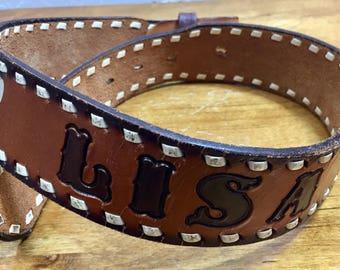 Vintage Belt, Kids Belt, Vintage Lisa Belt, Tooled Leather, Stamped Leather Belt, Children's Vintage, Children's Belt, Cowgirl Belt, Kids