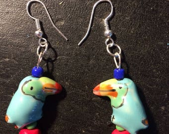 Cute and colorful tropical theme toucan dangle earrings on SS ear wires for teen girls or women