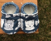 Baby Shoes for Boys - Woodland Animals on Slate Grey - Custom Sizes 0-24 months 2T-4T