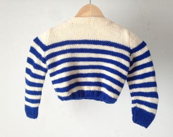 50s 60s Kid's striped CABLE KNIT kids childrens sweater size 3T 4T