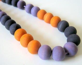 Black, Orange and Purple 10mm Wood Beads, Halloween Beads, Hand Dyed Wood Beads