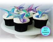Edible CAKE TOPPERS Hummingbirds - 12 Cupcake Toppers, Wedding Favors, Spring Wedding, Pastel Cupcake Decorations, Edible Image, Birds