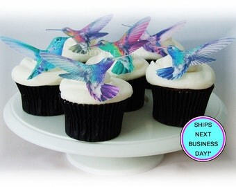 Edible CAKE TOPPERS Hummingbirds - 12 Cupcake Toppers, Wedding Favors, Spring Wedding, Pastel Cupcake Decorations, Edible Image, Birds