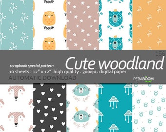 Digital Paper for Small commercial use, Printable Animal Paper, Woodland Animals Scrapbook Foxes Digital Paper, Animal Backgrounds baby blog