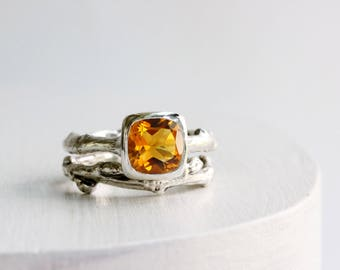 Citrine Engagement Ring Set,Sterling Silver Twig Rings, Nature Tree Rings, Square Cushion 8 x 8mm