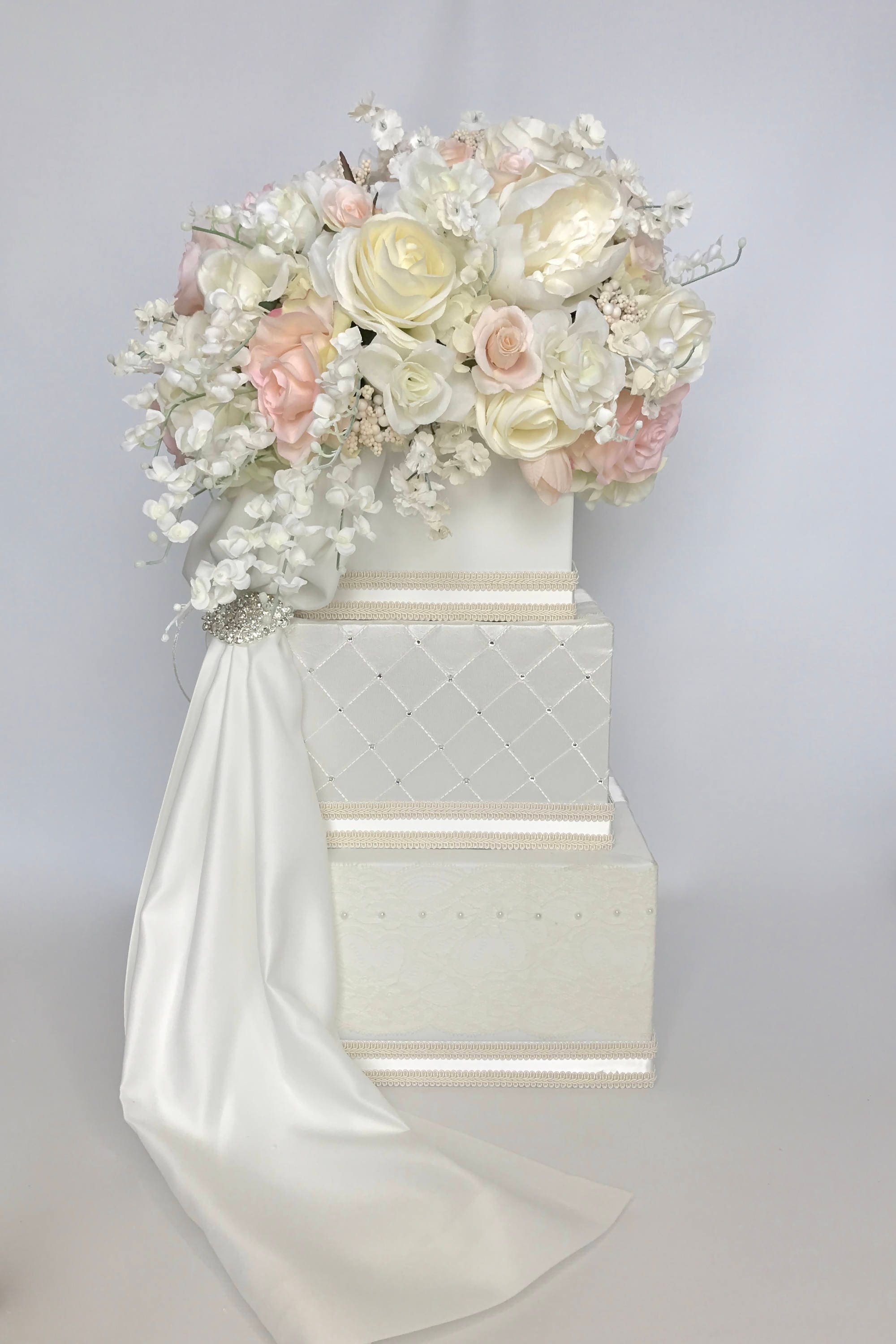 Wedding Card Holder Three Tiers Pale Peach Pink Ivory Wedding Card ...