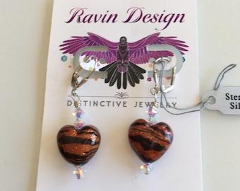 Venetian Glass Tiger Heart Earrings