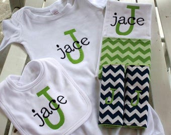 Baby boy gift Set Personalized Monogrammed  baby boy gown with coordinating burpcloth, bib, and car seat strap covers