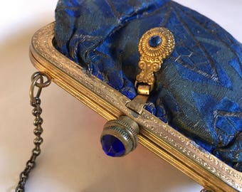 Vintage Graceline Tapestry Bag With Pretty Blue Stone Clasp