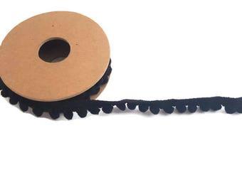 Pom pom trim black ball ribbon by the yard elastic trim haberdashery tassel ribbon polyester craft ribbon pom pom
